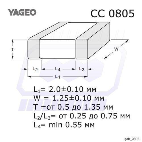 Cc0805jrnp09bn471 - cap ceramic 470pf 50v np0 0805
