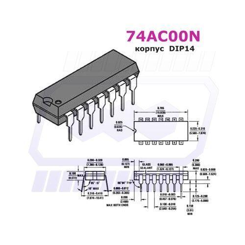 микросхема SN74AC00N (ЛА3)